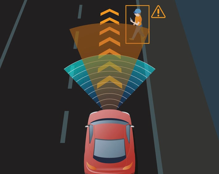 Advanced Driving Assistant System (ADAS), Blind Spot Monitoring, automobile sensing technology, top view, vector illustration