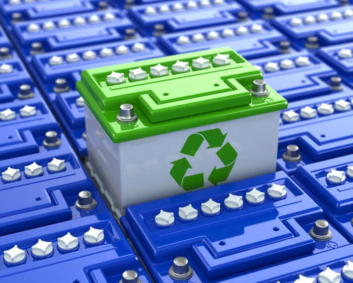 Graphic of many blue car batteries, with one battery above the rest with a green recycle symbol on it