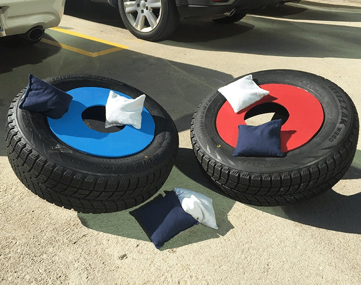 DIY: Make a Cornhole Set Out of Old Tires