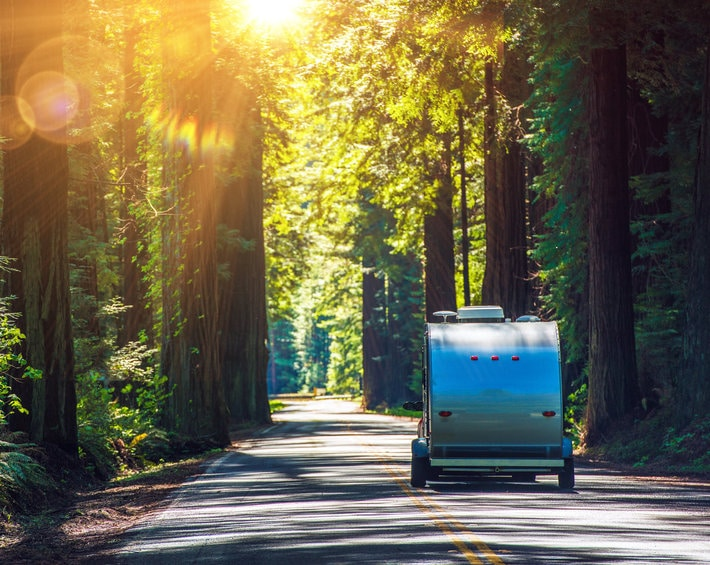 Travel trailer being pulled through California Redwoods, headed into the sun