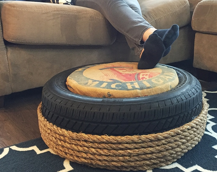 DIY Tire Crafts: Transform An Old Tire Into A Stylish Ottoman!