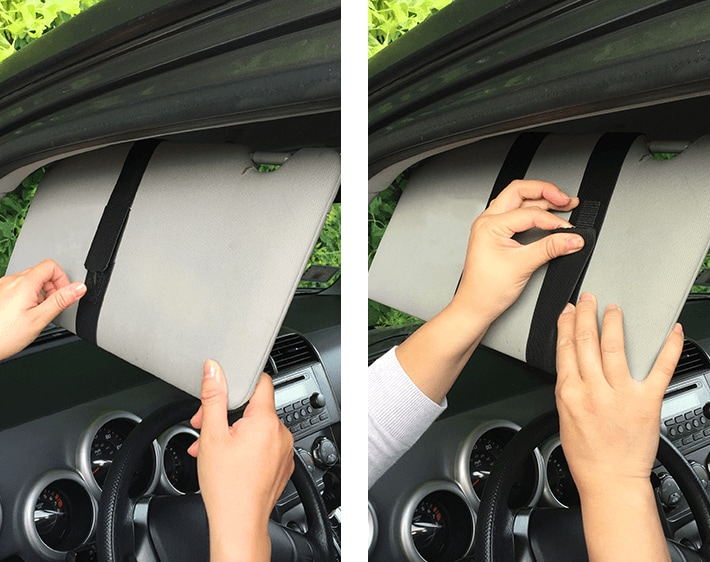 Step 4 - Secure the elastic bands around your car's sun visor to install the extender