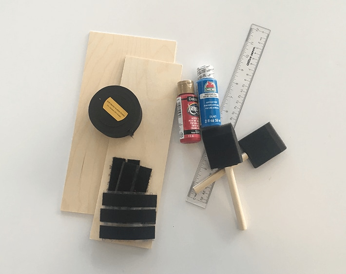 elastic band, sticky back velcro strip, craft ply, scissors, ruler, paint and brushes