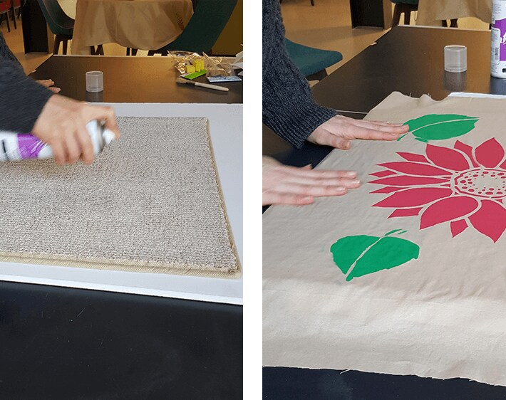Spraying adhesive on fabric