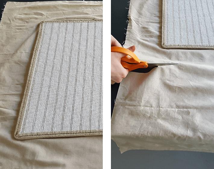 Using car mat to measure fabric cut