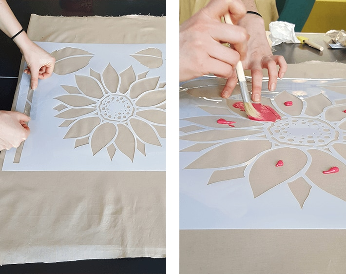 Painting fabric with holiday stencil