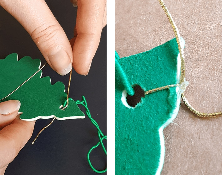 Looping string through the top hole, securing with glue and knot