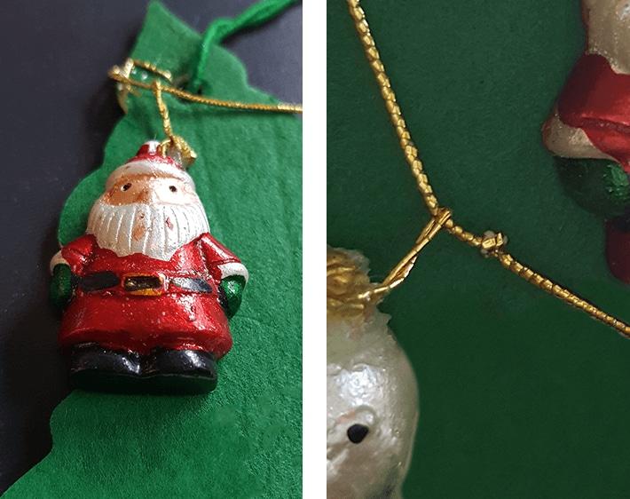 Thread ornaments through string and drape across freshener