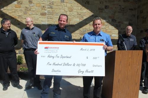 Firestone Complete Auto Care donation to Aubrey, TX fire department