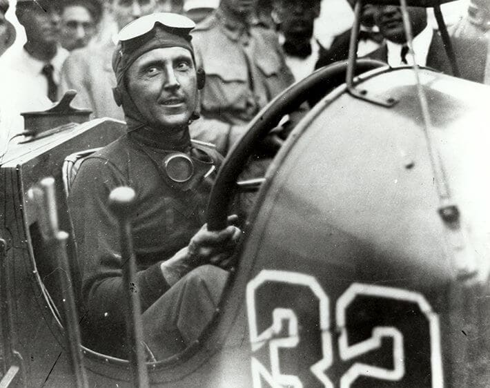 Driver Ray Harroun in his race car at the first Indianapolis 500 in 1911