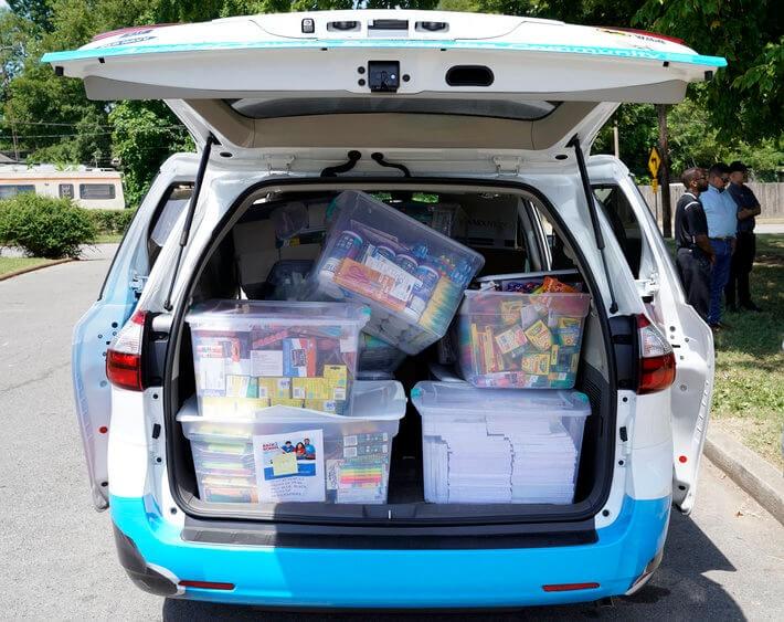Back2School van full of school supplies