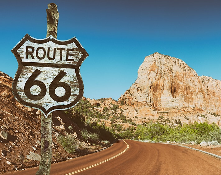 route 66 road sign in the desert of southwestern USA
