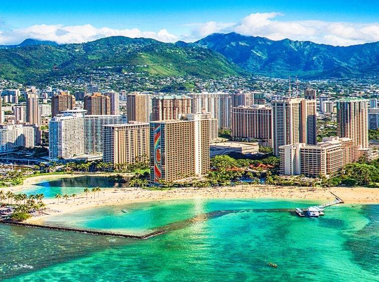 Honolulu skyline aerial view with beach