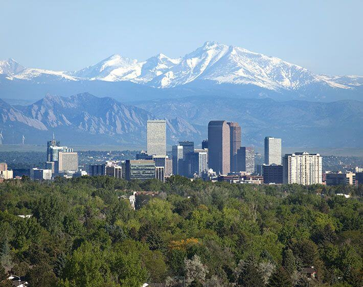 Denver skyline and tree line with snow-covered mountains in the background