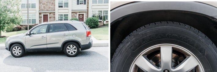 Car and tire closeup