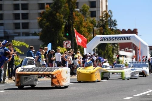 Solar cars starting a race