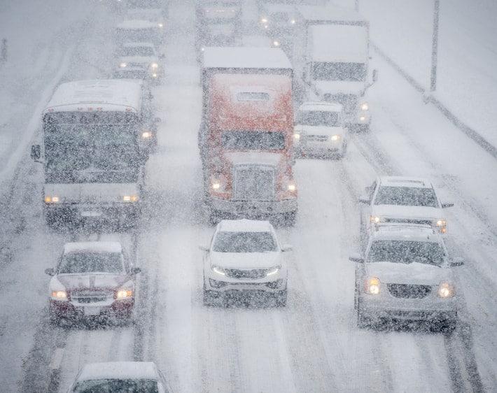 Heavy traffic on a snowy highway