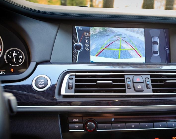 Backup camera in car dashboard
