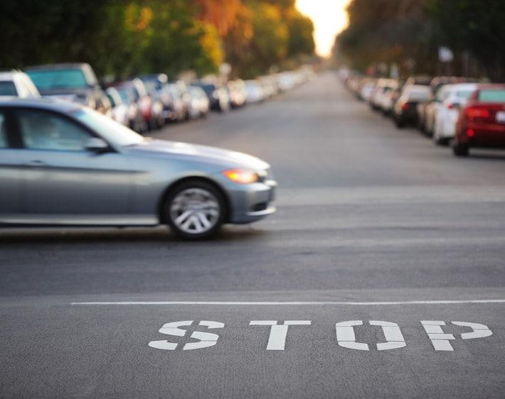 Car driving through an intersection