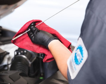 person standing in front of car engine cleaning oil dipstick with red rag