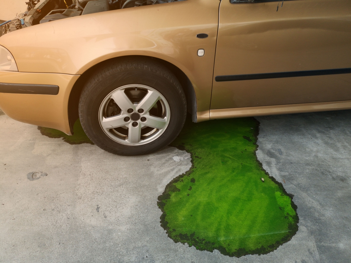 image of coolant leaking from a car